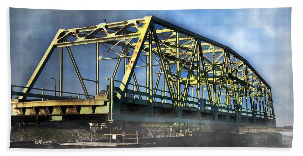 Topsail Bath Sheet featuring the photograph Surf City Nc Swing Bridge by Betsy Knapp