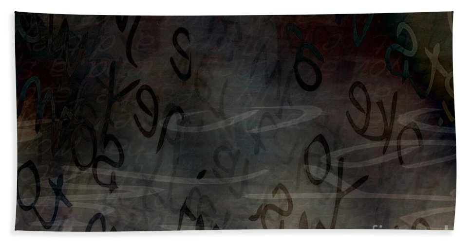 Implication Hand Towel featuring the digital art Surfacing Words by Vicki Ferrari