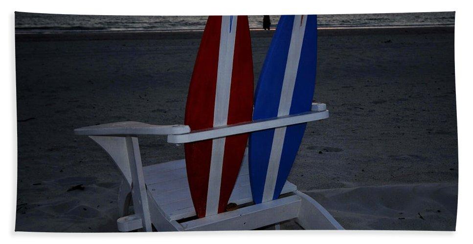 Beach Bath Sheet featuring the photograph Surfboard Chair Sunset by David Lee Thompson