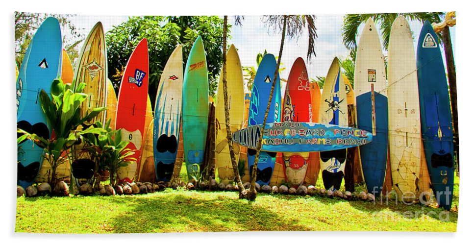 Surfboard Bath Towel featuring the photograph Surfboard Fence II-the Amazing Race by Jim Cazel