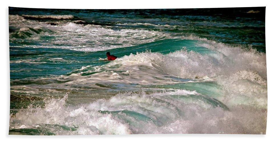 Ocean Bath Sheet featuring the photograph Surfer On Surf, Sunset Beach by Debra Banks