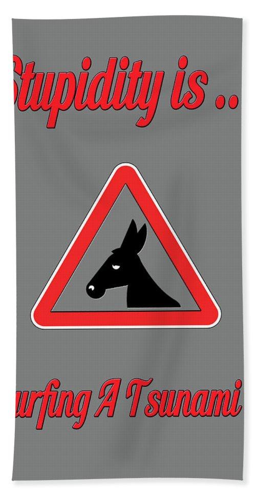 Funny Bath Sheet featuring the digital art Surfing Bigstock Donkey 171252860 by Mitchell Watrous