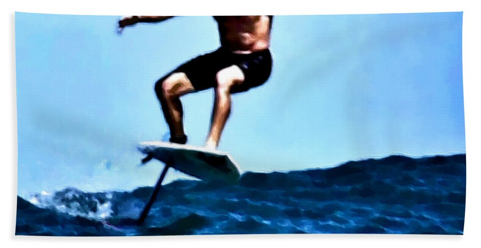 Surf Hand Towel featuring the digital art Surfing Legends 5 by Keith Kos