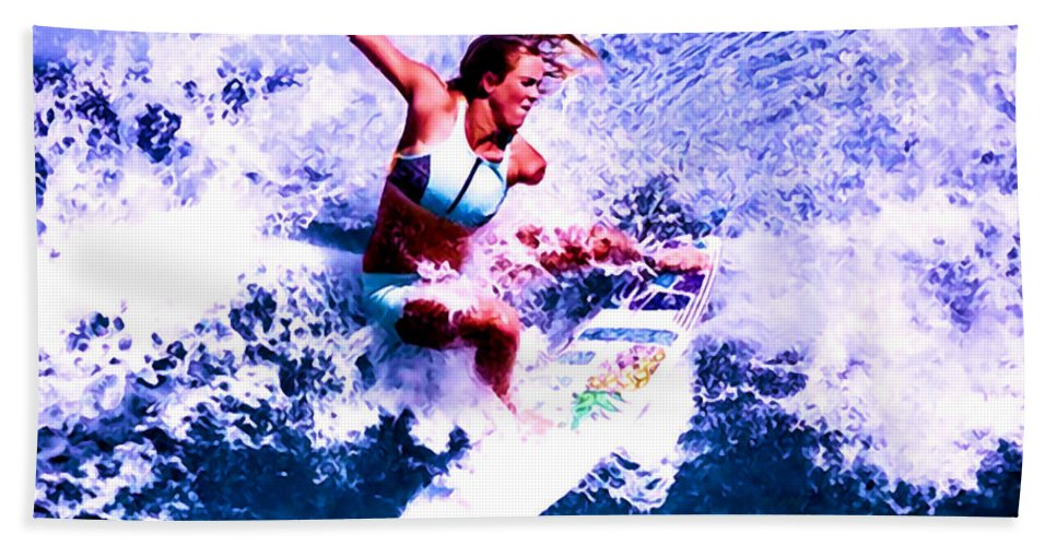 Surf Hand Towel featuring the digital art Surfing Legends 6 by Keith Kos