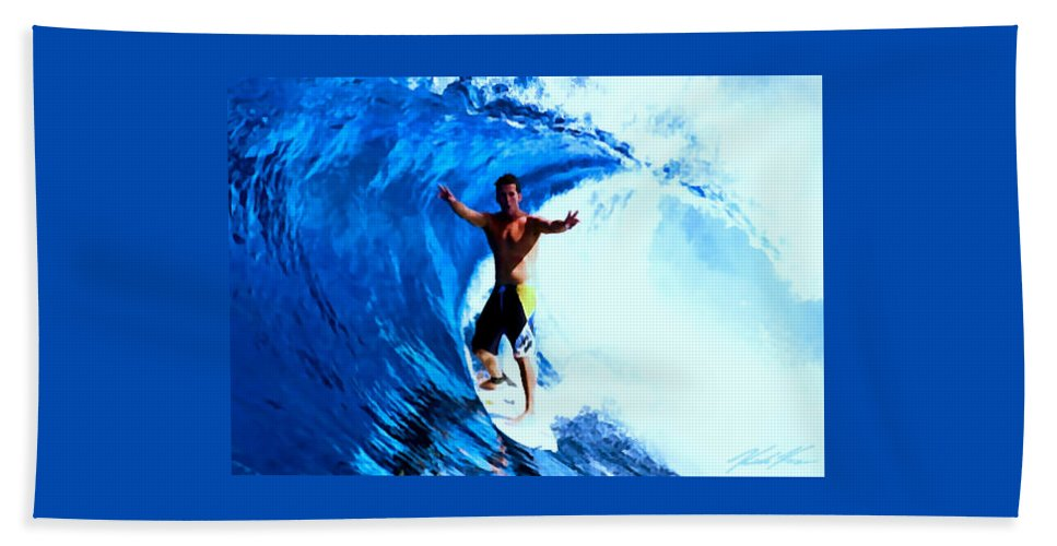 Surf Hand Towel featuring the digital art Surfing Legends 7 by Keith Kos