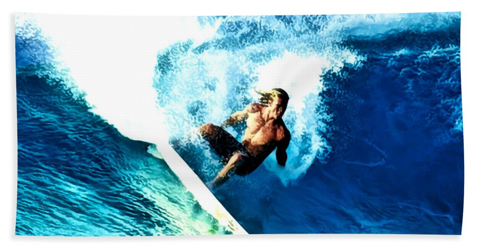 Surf Hand Towel featuring the digital art Surfing Legends 9 by Keith Kos