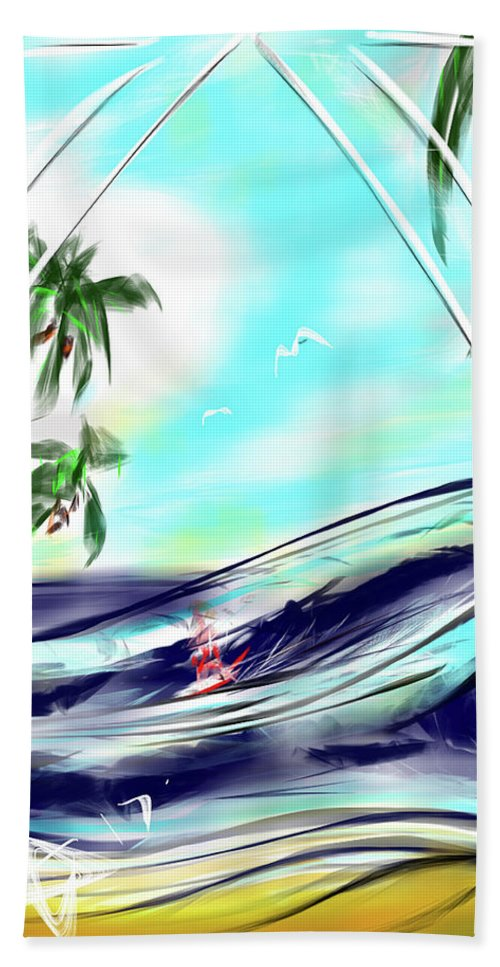Surf Hand Towel featuring the digital art Surfs Up by AsCuddy