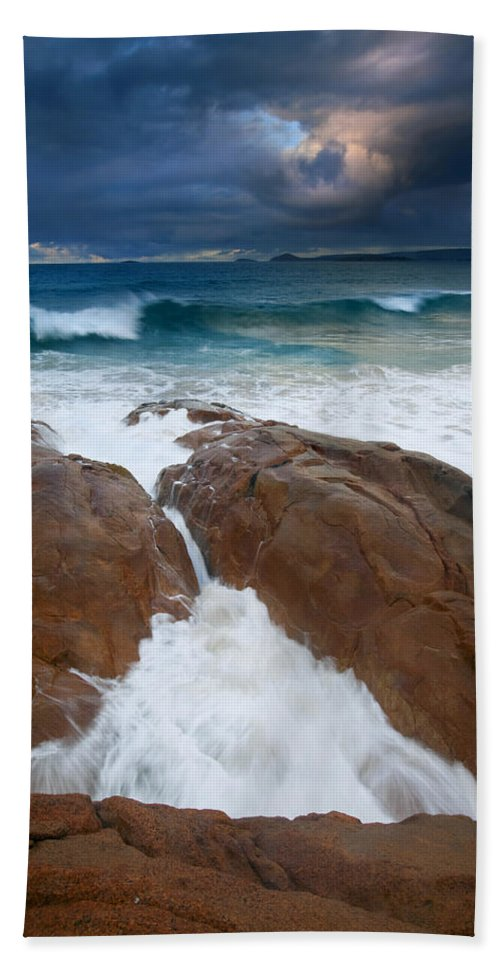 Waves Hand Towel featuring the photograph Surfs Up by Mike Dawson