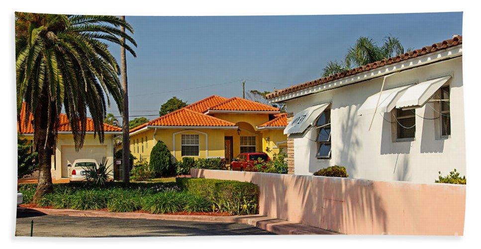 Florida Bath Sheet featuring the photograph Surfside Neighborhood In Miami Beach by Zal Latzkovich
