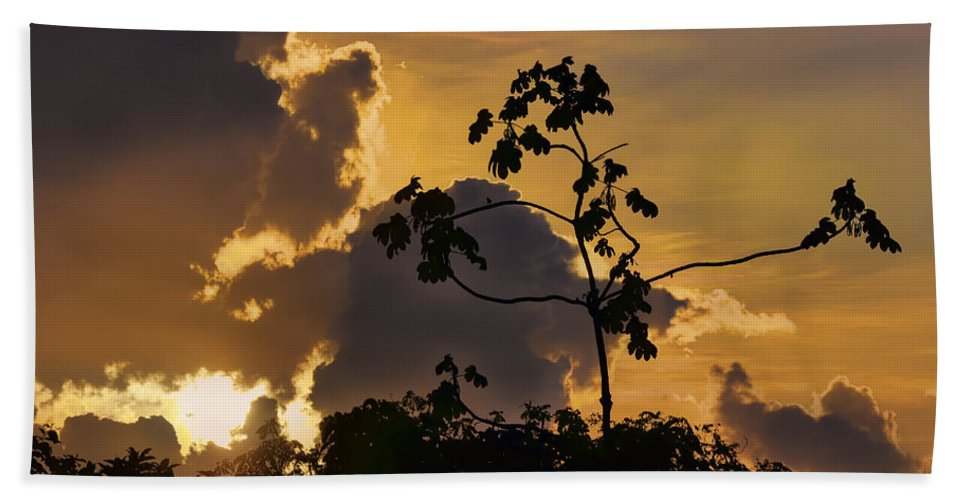 Sunset Hand Towel featuring the photograph Suriname Sunset by Nadia Sanowar