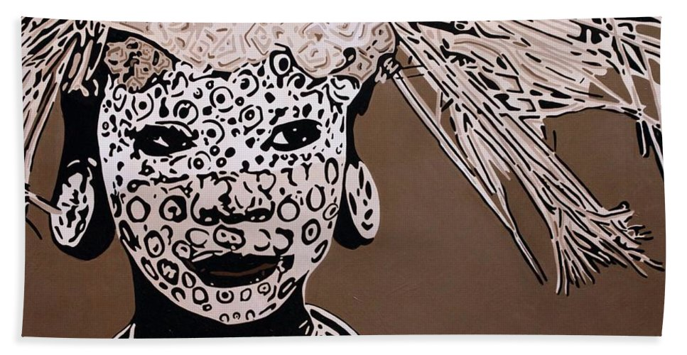 Africa Bath Sheet featuring the painting Surma Girl by Irene Jonker
