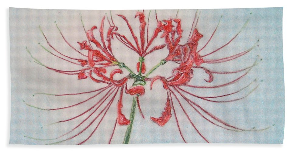 Fuqua - Artwork Bath Sheet featuring the drawing Surprise Lily by Beverly Fuqua