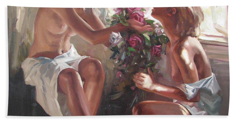 Ignatenko Bath Sheet featuring the painting Surprise by Sergey Ignatenko