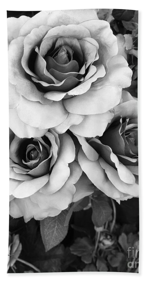 Roses Hand Towel featuring the photograph Surreal Black And White Roses - Haunting Surreal Romantic Black And White Roses Floral Photography by Kathy Fornal