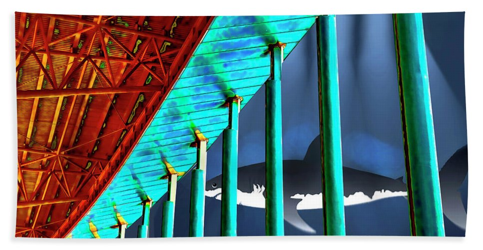 Surreal Bath Sheet featuring the painting Surreal Bridge Shark Cage by Elaine Plesser