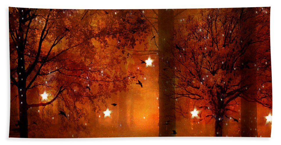Fairytale Hand Towel featuring the photograph Surreal Fantasy Autumn Woodlands Starry Night by Kathy Fornal