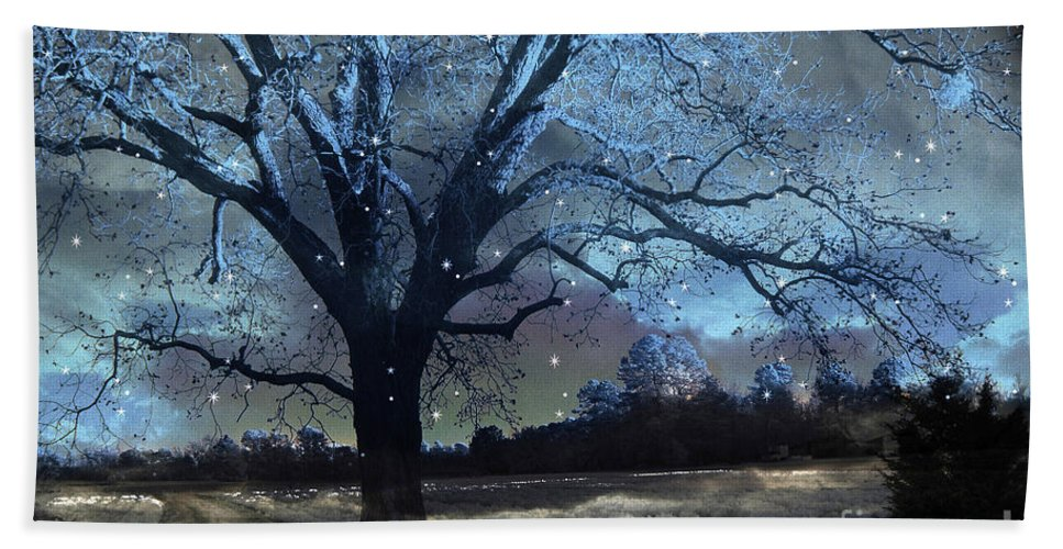 Surreal Nature Photos Hand Towel featuring the photograph Surreal Fantasy Fairytale Blue Starry Trees Landscape - Fantasy Nature Trees Starlit Night Wall Art by Kathy Fornal