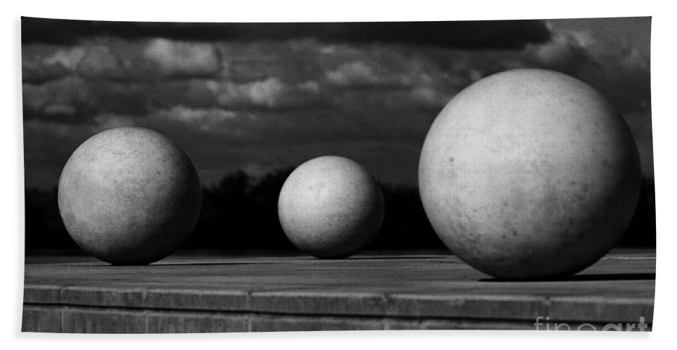 Black And White Bath Sheet featuring the photograph Surreal Globes by Peter Piatt