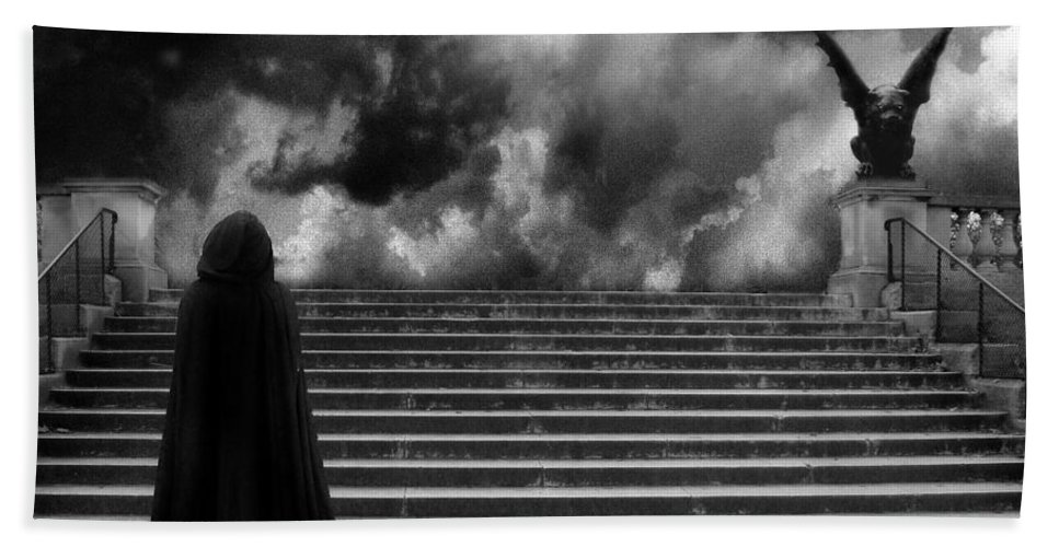Gothic Black White Photos Hand Towel featuring the photograph Surreal Gothic Infrared Black Caped Figure With Gargoyle On Paris Steps by Kathy Fornal