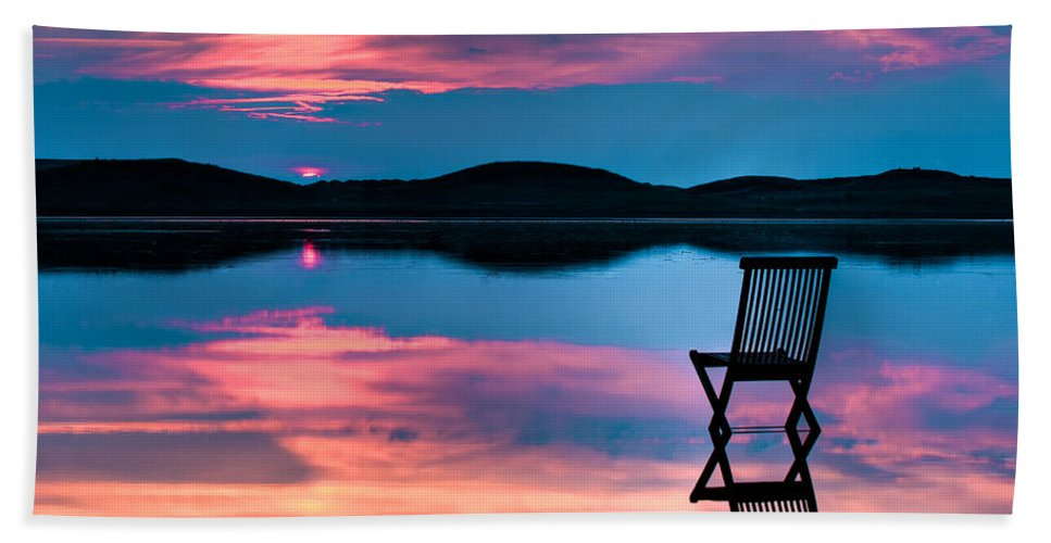 Background Hand Towel featuring the photograph Surreal Sunset by Gert Lavsen