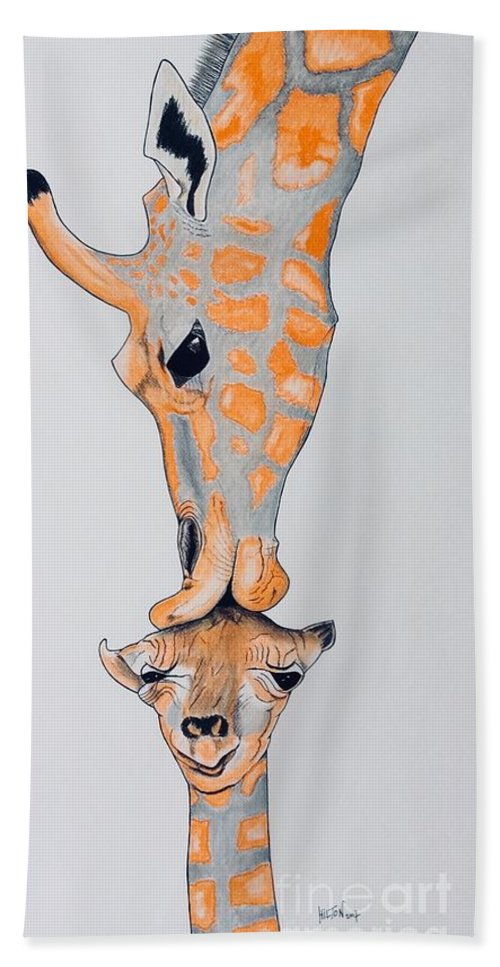 Nature Surrealist Giraffe And Baby Colorful Hand Towel featuring the pastel Surrealist Mother And Baby Giraffe by Graham Wallwork