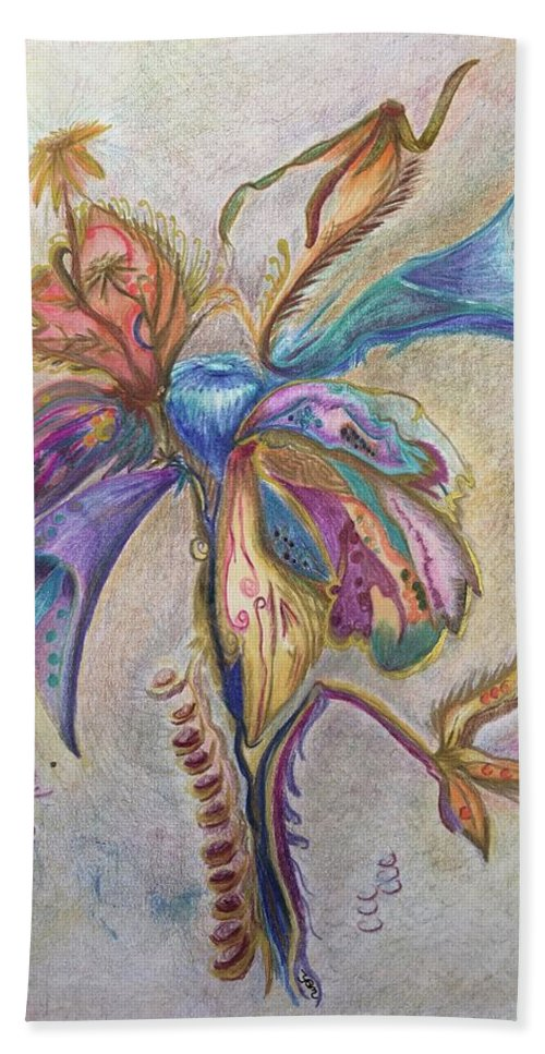 Plants Hand Towel featuring the drawing Surrender by Suzanne Udell Levinger