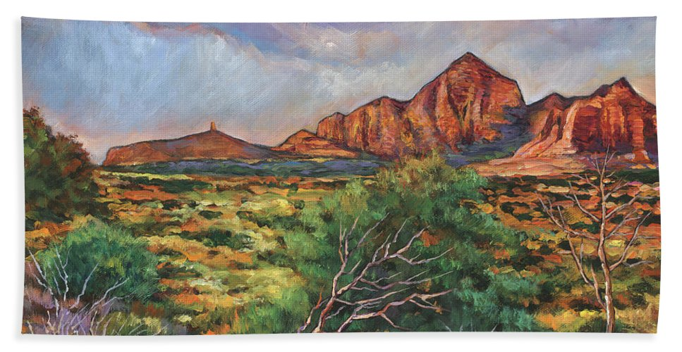 Arizona Desert Bath Towel featuring the painting Surrounded By Sedona by Johnathan Harris