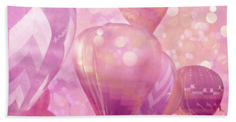 Hot Air Balloon Art Print Bath Sheet featuring the photograph Surureal Hot Air Balloons Lavender Pink White Decor - Carnival Hot Air Balloons Nursery Room Decor by Kathy Fornal