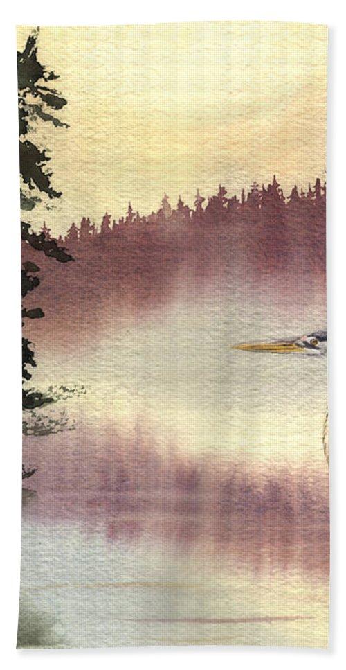 Heron Bath Towel featuring the painting Surveyor Of The Morning by Lynn Quinn