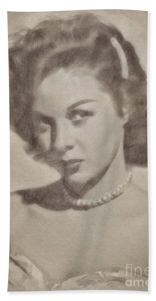 Hollywood Bath Sheet featuring the drawing Susan Hayward, Actress by John Springfield