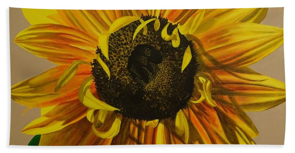 Sunflower Bath Towel featuring the painting Susanna's Sunflower by Amelia Emery