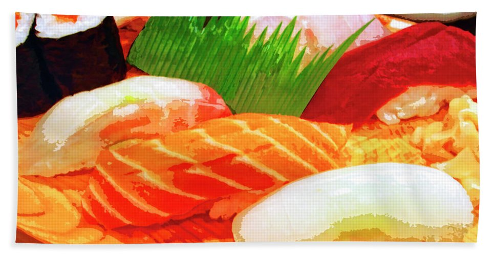 Sushi Plate Bath Sheet featuring the mixed media Sushi Plate 1 by Dominic Piperata