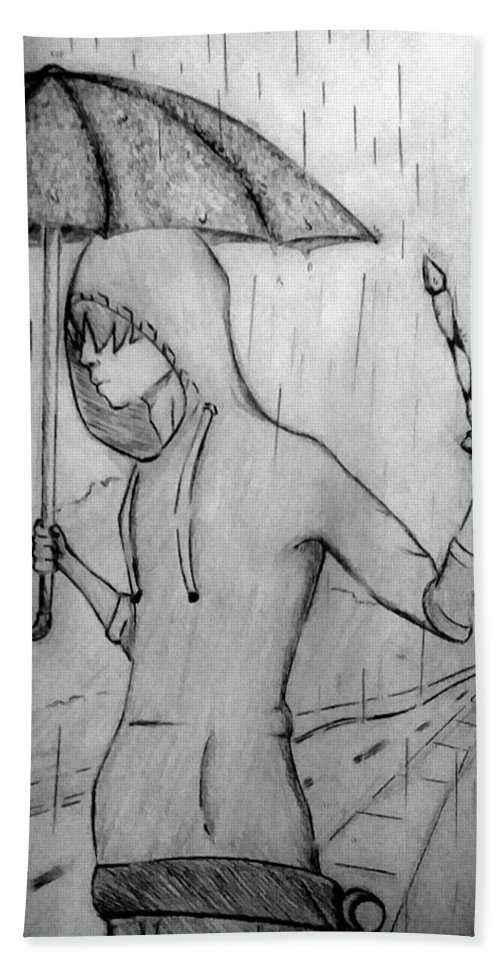 Rain Hand Towel featuring the drawing Suspense by Isaiha Phillips