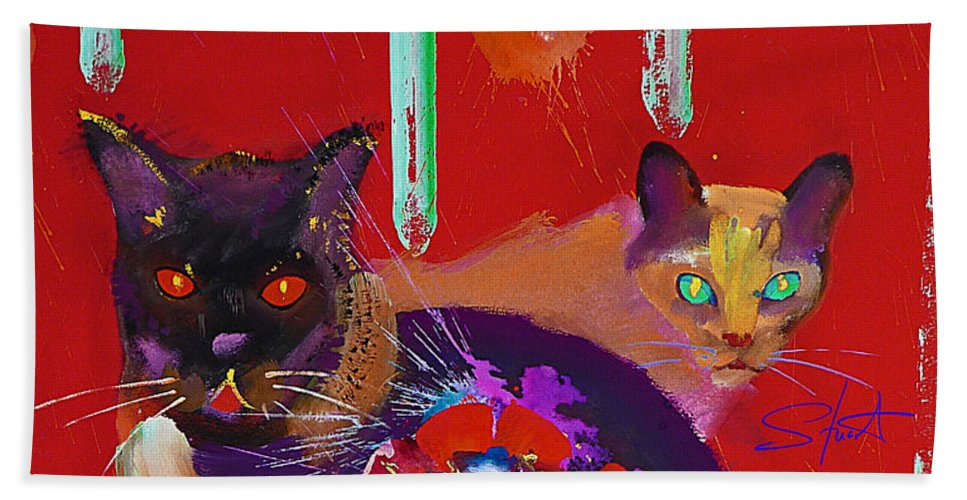 Cat Hand Towel featuring the painting Suspicious Minds by Charles Stuart