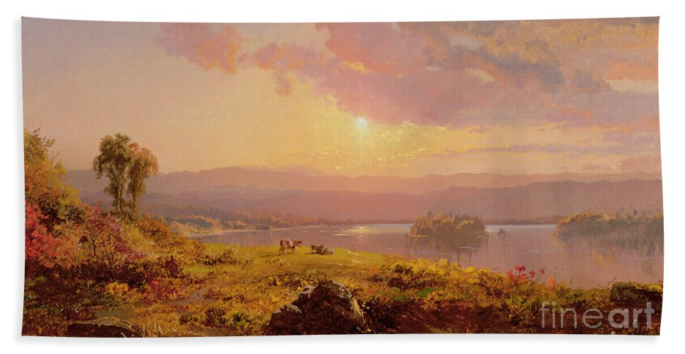 Susquehanna River Bath Sheet featuring the painting Susquehanna River by Jasper Francis Cropsey