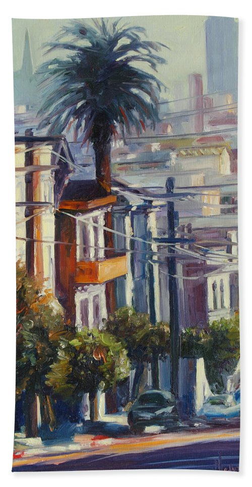 Cityscape Bath Towel featuring the painting Post Street by Rick Nederlof