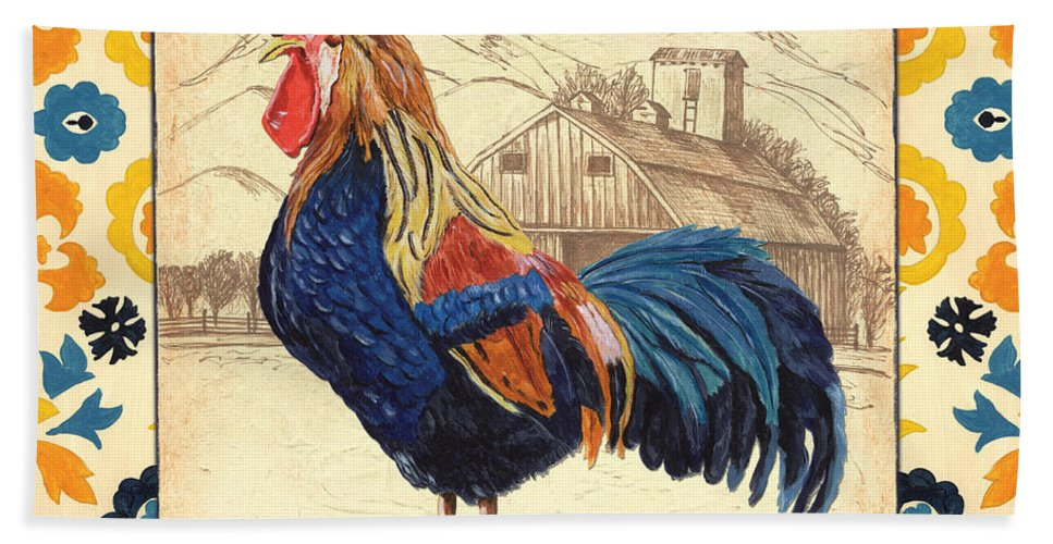 Rooster Bath Towel featuring the painting Suzani Rooster 1 by Debbie DeWitt