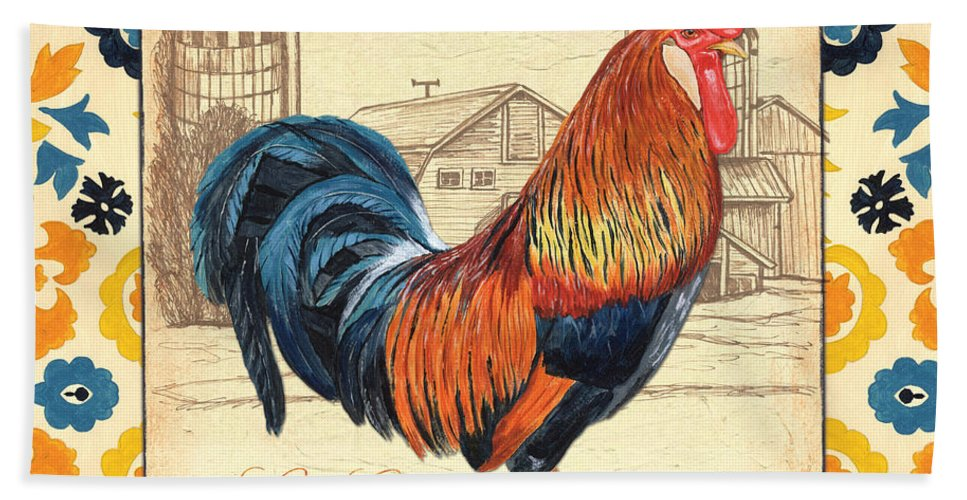 Rooster Bath Towel featuring the painting Suzani Rooster 2 by Debbie DeWitt