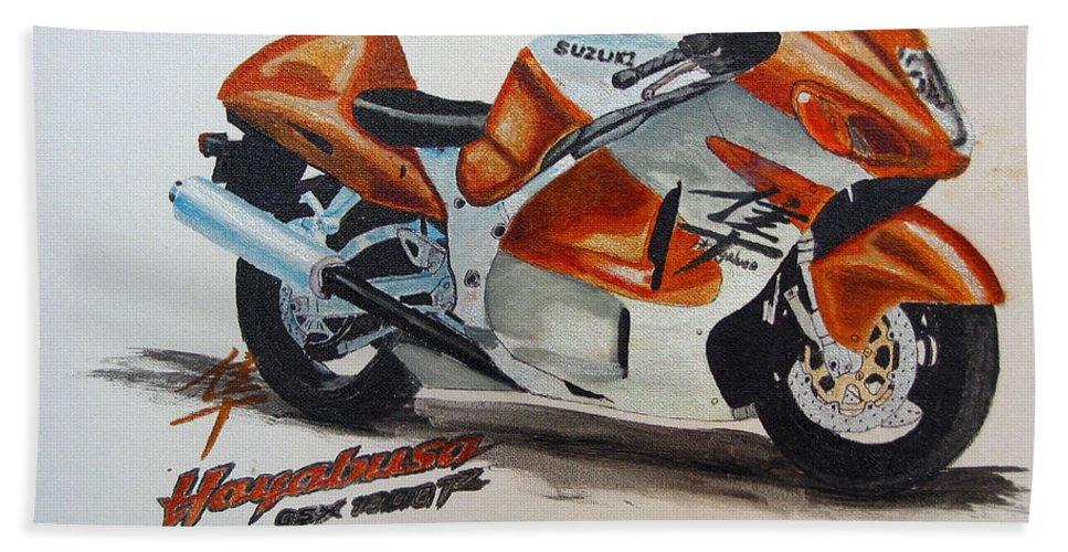 Suzuki Hayabusa Bath Sheet featuring the painting Suzuki Hayabusa by Richard Le Page