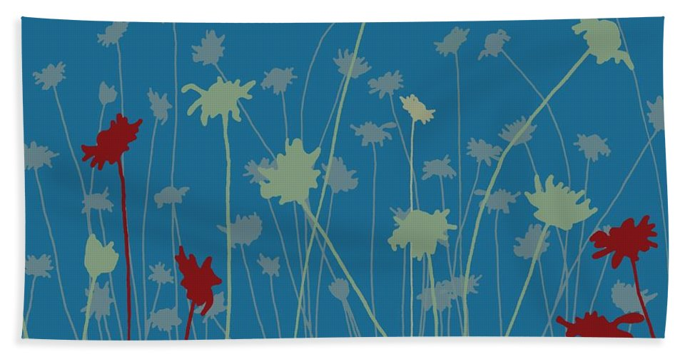 Meadow Hand Towel featuring the digital art Suzy's Meadow by Sarah Hough