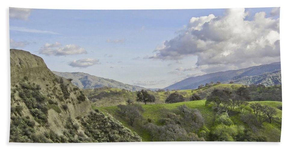 Landscape Bath Sheet featuring the photograph Swallow Bay Cliffs by Karen W Meyer