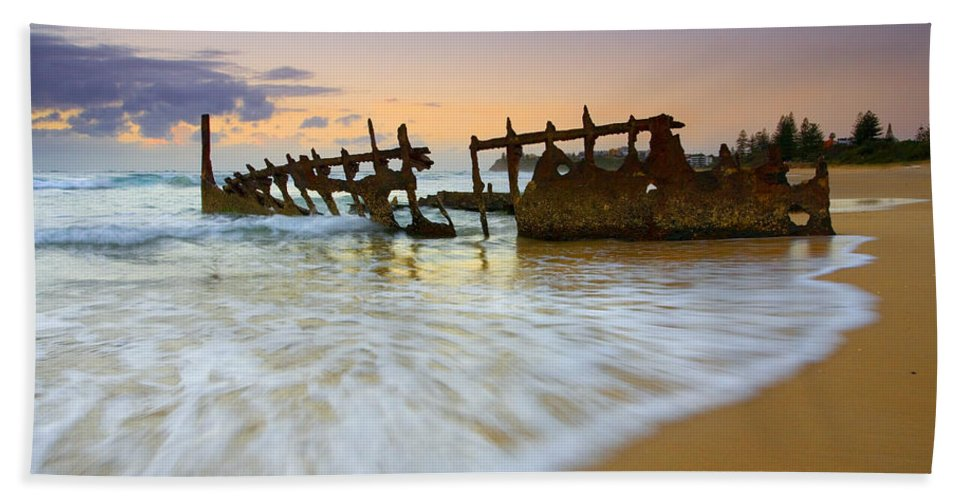 Shipwreck Bath Sheet featuring the photograph Swallowed By The Tides by Mike Dawson