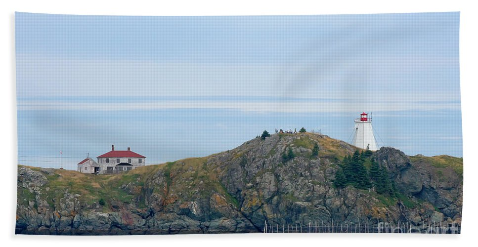 Lighthouse Hand Towel featuring the photograph Swallowtail Lighthouse And Keeper by Thomas Marchessault
