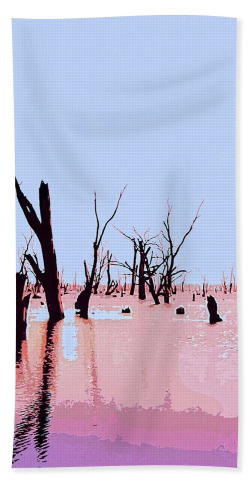 Swamp Bath Sheet featuring the mixed media Swamp And Dead Trees by Dominic Piperata