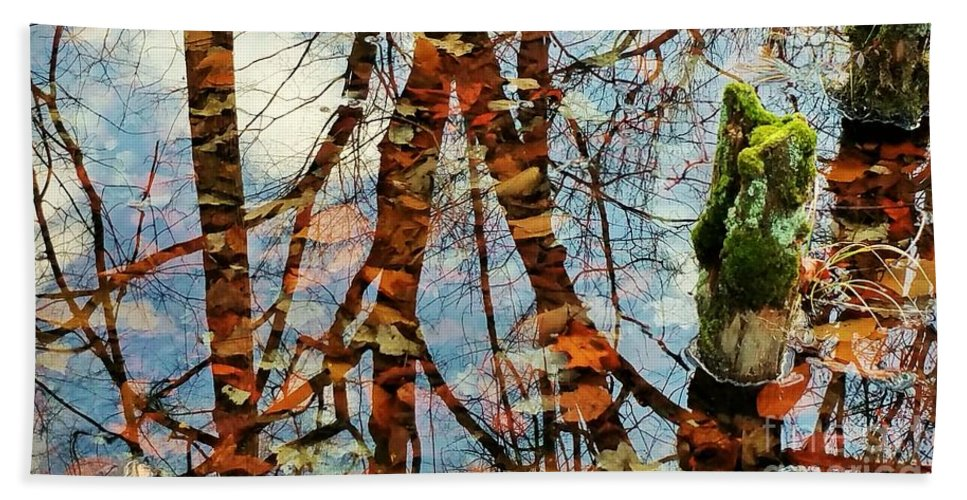 Swamp Hand Towel featuring the photograph Swamp Reflections by Beth Ferris Sale