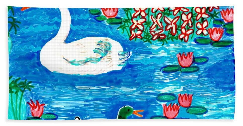 Sue Burgess Bath Sheet featuring the painting Swan And Duck by Sushila Burgess