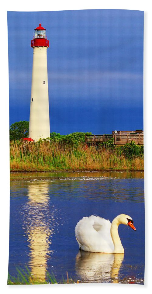 Architecture Bath Sheet featuring the photograph Swan At The Lighthouse by Nick Zelinsky