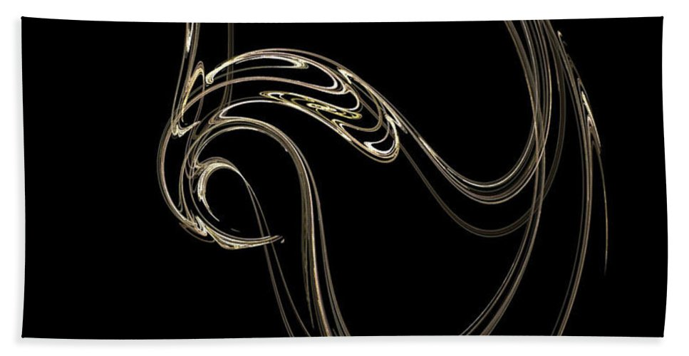 Fractals Bath Towel featuring the digital art Swan Dance by Richard Rizzo