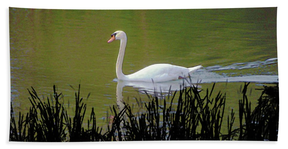 Bird Bath Sheet featuring the digital art Swan In The Pond by Barry Blackman