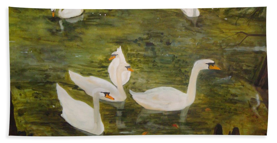 Swan Hand Towel featuring the painting Swan Lake by Jean Blackmer